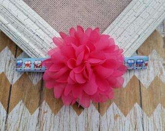 Hippie van headband, 70s headband, van headband, hippie girl headband, pink flower headband, hippie baby headband, headband, girls headband