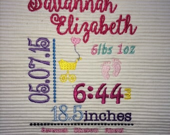 Embroidered Baby Subway Art Birth Announcement