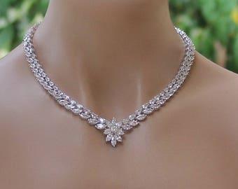 Crystal Bridal Necklace, Crystal Necklace, Crystal Wedding Necklace, Crystal Bridal Jewelry, Wedding Necklace,  COLETTE 2
