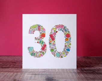 30th Birthday Card - Birthday Card For Her - Thirtieth Special Birthday - Girlie Things 30th Birthday Card