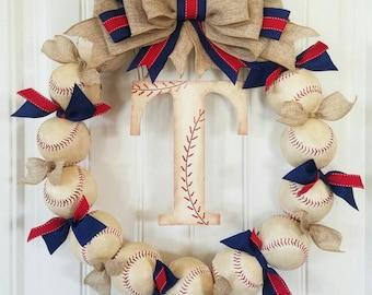 Baseball Wreath with Burlap Bow - Softball - Coach's Gifts- Baseball - Front Door Wreath - Monogram - Spring Summer Wreath