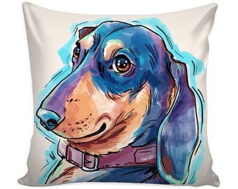 Dachshund  Pillow Cover for decorative home decor cushion cover for dog mom dog lover gift illustrated & personalized