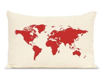 Personalized world map print pillows, Custom Map Pillow, Throw Pillows - Accent Pillow - Decorative Throw Map Pillow