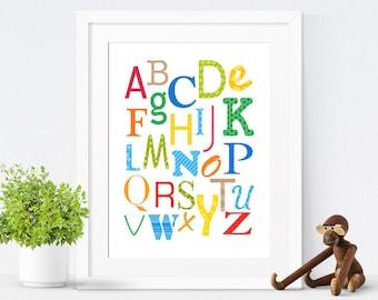 Nursery Decor, Printable Alphabet Art, Nursery Art, Kids Wall Art, Children's Art, Gender Neutral, Instant Download