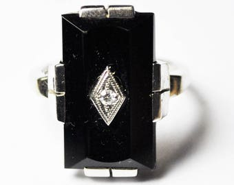 10k Art Deco Signet Onyx Beveled Rectangle Diamond Ring 19mm Size 4
