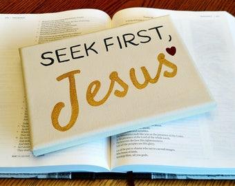 Scripture Canvas Art, Matthew 6:33, Mini Canvas Sign, Jesus Sign, Bible Verse Canvas, Small Canvas Art, Christian Wall Art, Home Decor, Gift