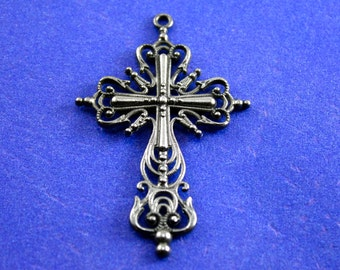 2 pcs - Ornate Crucifix, Gunmetal Silver Cross, Religious Symbol, Rosary Cross