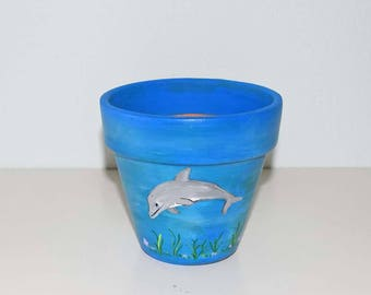Hand Painted Dolphin on a 4.5 Inch Terracotta Flower Pot