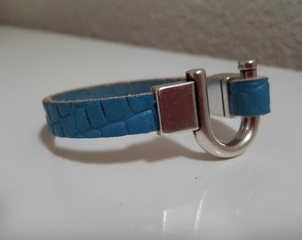 "Wristband leather ""ONLY BLUE"""