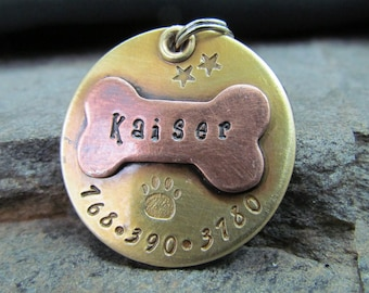 Hand Stamped Pet ID Tag - Personalized Pet/Dog Tag - Dog Collar Tag - Engraved Dog Tag - Handstamped Pet Tag - Copper Dog Tag