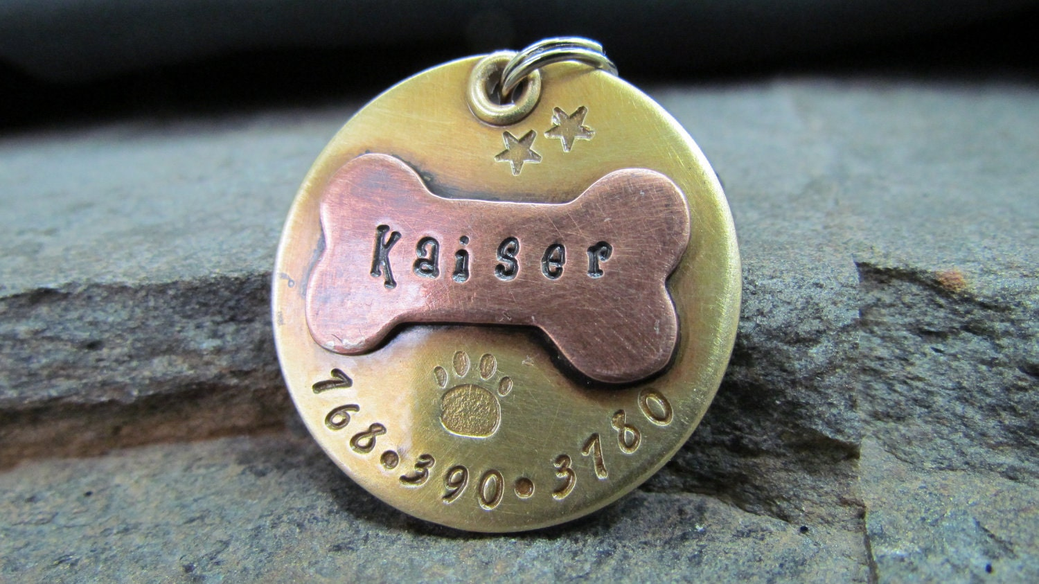 Hand Stamped Pet ID Tag Personalized Pet/Dog Tag Dog