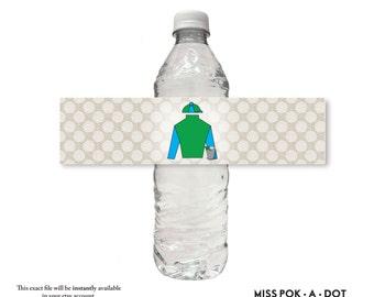 JOCKEY Seide Mint Julep Pferd Kentucky Derby Partei Wasserflasche Wrap Etikett Aufkleber digital Download sofort diy druckbare Datei blau grün