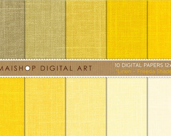 Yellow Digital Paper Linen 'Freesia Shades' Textured Orangish Yellow Backgrounds for Greeting Cards, Craft Projects...