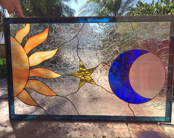 Gorgeous! Mystical Sun & Moon Stained Glass Window Panel (We do custom work! Please email me for a quick quote)