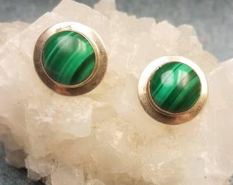 Vibrant Green Malachite Button Earrings Set In Sterling Silver For Pierced Ears