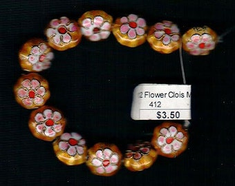 12mm Round Coin Shape Mustard Yellow Cloisonne Beads Pink Green White Enameled Flowers