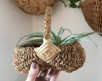 Vintage buttocks basket / handwoven small basket / plant holder