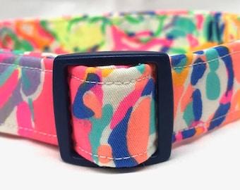 Lilly Pulitzer Fabric Dog Collar Girl Boy Pink Island Seacret