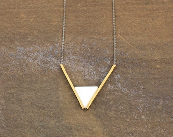 White Marble Triangle Pendant, Brass Triangle Necklace, Geometric Triangle Jewelry, Brass Art Deco Necklace, Architectural Necklace