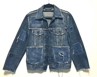 Stylish, Distressed, Dark blue denim, Oversized Jacket (LARGE)
