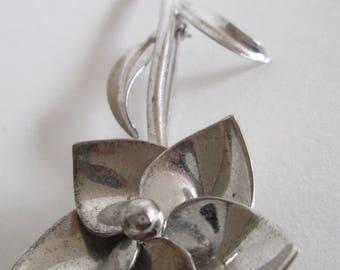 Danecraft Sterling Silver Flower Brooch - FREE SHIPPING