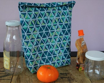 Bag for snack, snacks, picnic, lunch bag in coated cotton