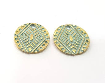 12 Patina Blue Charms Antique Blue Charms  , Faux Patina over Antique Bronze Tone (16mm) G9206