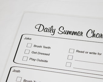 Children's Daily Summer Chore Chart Dry Erase Board - personalized