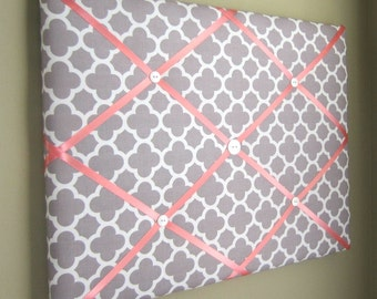"""16""""x20"""" French Memory Board, Bow Holder, Bow Board, Vision Board, Photograph Holder, Business Card Holder,Grey & Coral Quatrefoil Memo Board"""
