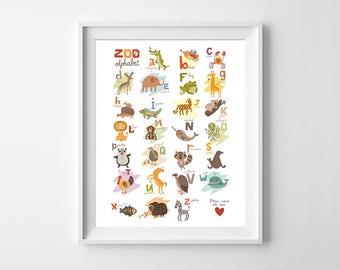 Zoo Alphabet Wall Art, Alphabet Animals Printable, Alphabet Nursery Poster, Alphabet ABC poster, Nursery Decor Digital, Nursery Animal Decor
