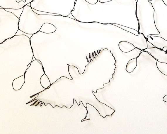 Draht Wandkunst Herde von Vögeln Großbaum Ast Wandskulptur