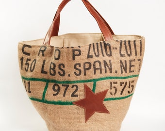 Jute bag, shoulder bag, hand bag, Stella leather, gift idea, gifts for her, Mother's Day, grandma, birthday gift, friend Gift