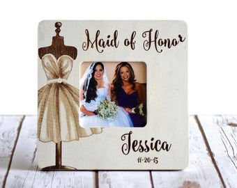 Personalized Maid of Honor/ Bridesmaid Frame Custom Wedding Frame- Bridesmaid gifts- Maid of Honor Gifts