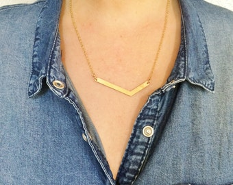 Gold Geometric Necklace with Chevron Brass Triangle and surgical steel chain