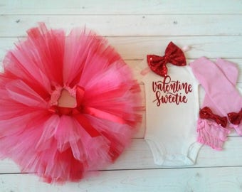 Valentine's tutu outfit, light pink, medium pink and red Valentine's tutu outfit, girls Valentines Day outfit, 1st Valentine, tutu