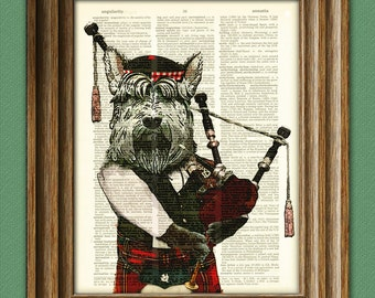 Hamish the Bagpiping Scottish Terrier with bagpipes and Scottish Tam hat Scottie dog beautifully upcycled dictionary page book art print