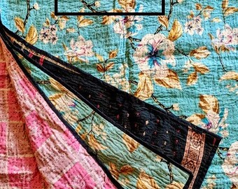 Handmade Vintage Kantha Quilt, Twin or Throw Size