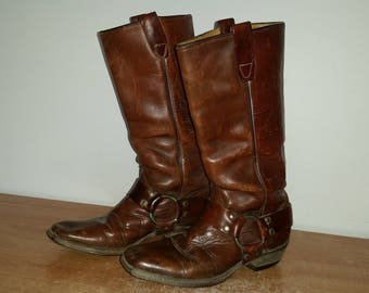 Vintage Women's Tall Rust Brown Leather WRANGLER Western Cowboy Motorcycle Riding Harness Boots Sz-6M