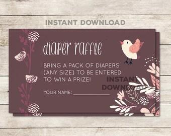 Diaper Raffle Ticket, Baby Shower Diaper Raffle, Baby Shower Game, Baby Shower Girl, Purple Baby Shower, Floral, Pink, Printable No. 1038