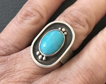 Turquoise Ring - Sterling Silver Turquoise Ring - Blue Ring - Size 7 - Band Silver Ring