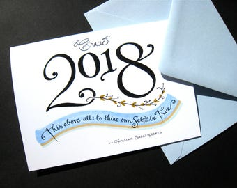 2018 Personalized Graduation Card - Shakespeare Quote, Graduate Card, Congratulations Card, Calligraphy Card