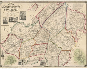 Morris County  New Jersey 1853  - Wall Map Reprint with Homeowner Names