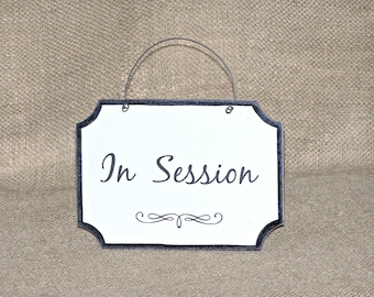 Small Wooden Sign, Office Signage, Business Plaque Door Hanging, In Session Wood Sign, Office Accessory Wall Hanging, Professional Workplace
