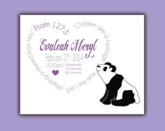 Panda Bear Baby, Personalized Birth Print, Baby Birth Print, Custom Birth Print, Birth Announcement Boy, Girl, Gift, Baby Gift