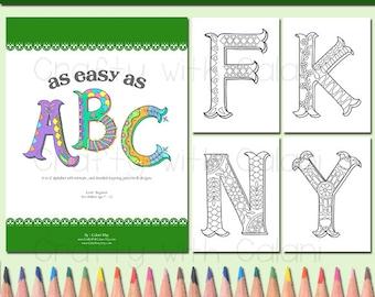 Alphabet Zentangle coloring book for Children, ABC Coloring Book, A to Z coloring book, Children coloring book, zentangle coloring book