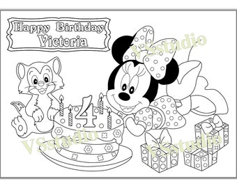 Personalized MINNI MOUSE  Birthday Party Printable coloring pages, activity PDF file