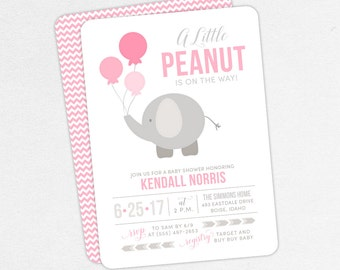 Elephant Baby Shower Invitation, Neutral Baby Shower, Girl Baby Shower, Printable Invitation, PDF Invitation, Balloon, Pink, Little Peanut