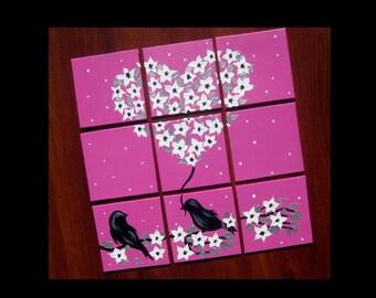 "romantic presents for girlfriend, gifts for girls, pink, girl, bedroom art, nursery art, bird art, cherry blossoms, small presents,12"" x 12"""