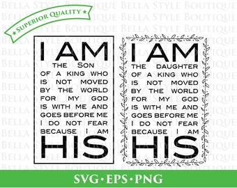 I Am His Daughter and Son svg png eps cut file
