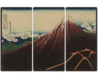 "Shower below the summit, Mount Fuji, Eruption, Volcano, 1826, Triptych Metal Sign, Oriental, Chinese,  Wall Decor, Wall Art 54""x36"""